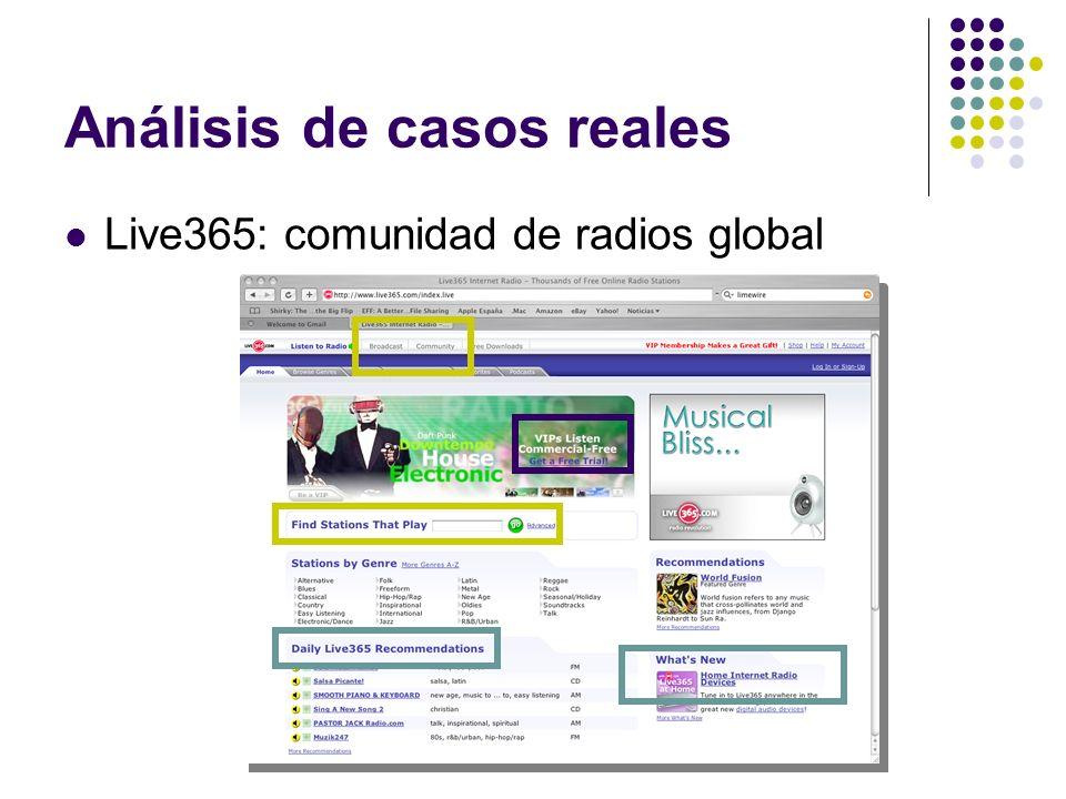 Análisis de casos reales Live365: comunidad de radios global