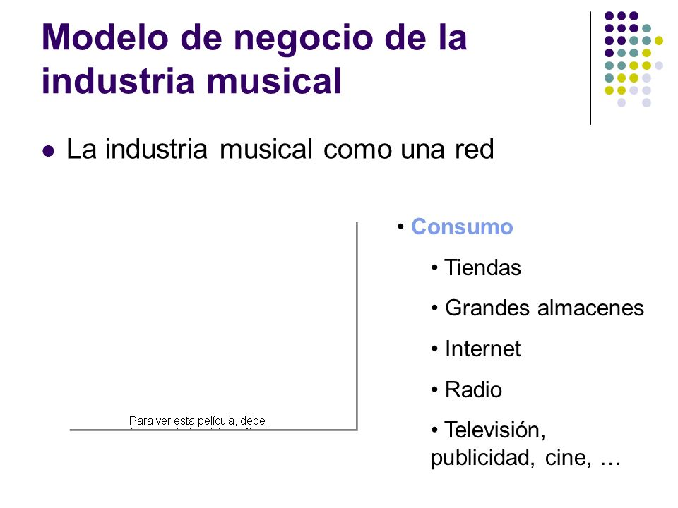 Modelo de negocio de la industria musical La industria musical como una red Consumo Tiendas Grandes almacenes Internet Radio Televisión, publicidad, c