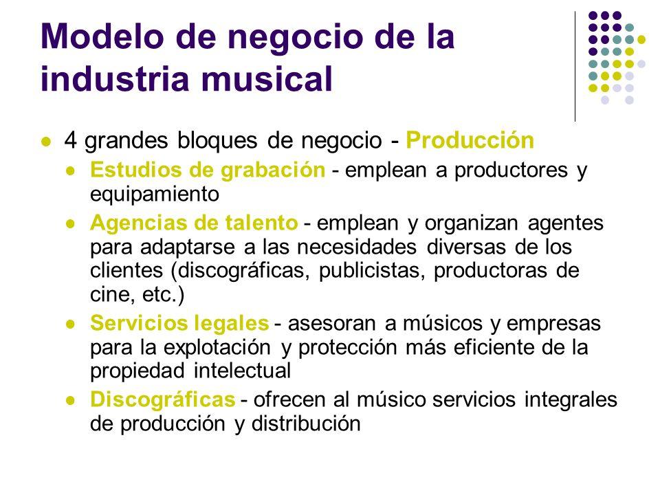 Modelo de negocio de la industria musical 4 grandes bloques de negocio - Producción Estudios de grabación - emplean a productores y equipamiento Agenc