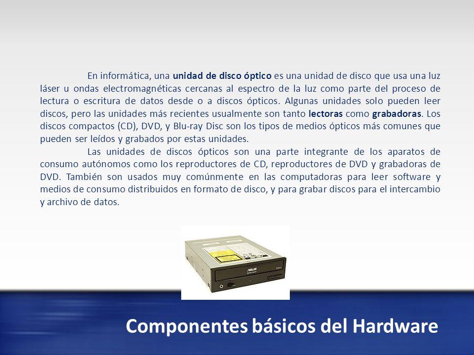 Componentes básicos del Hardware En informática, un disco duro o disco rígido (en inglés Hard Disk Drive, HDD) es un dispositivo de almacenamiento de datos no volátil que emplea un sistema de grabación magnética para almacenar datos digitales.