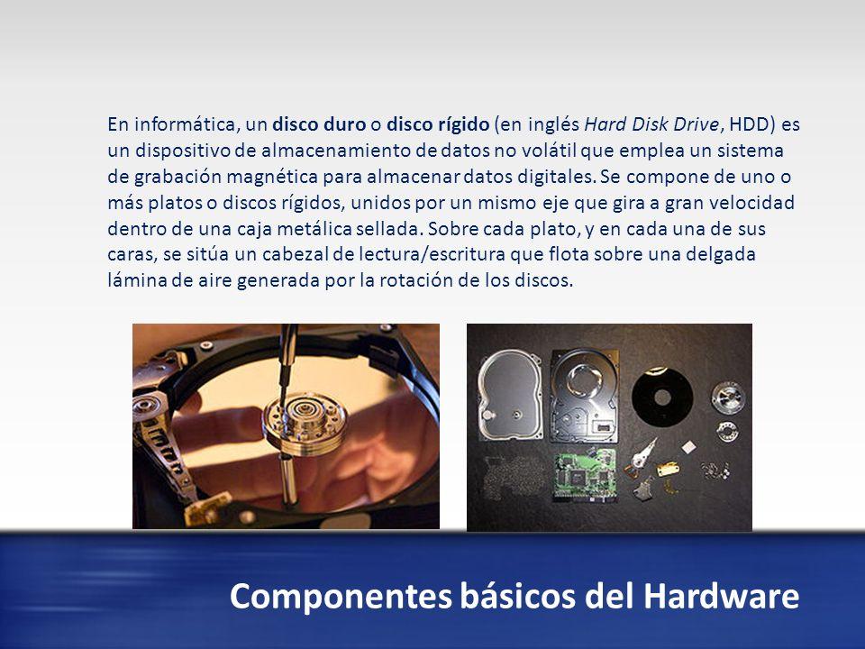 Componentes básicos del Hardware En informática un teclado es un periférico de entrada o dispositivo, en parte inspirado en el teclado de las máquinas de escribir, que utiliza una disposición de botones o teclas, para que actúen como palancas mecánicas o interruptores electrónicos que envían información a la computadora.