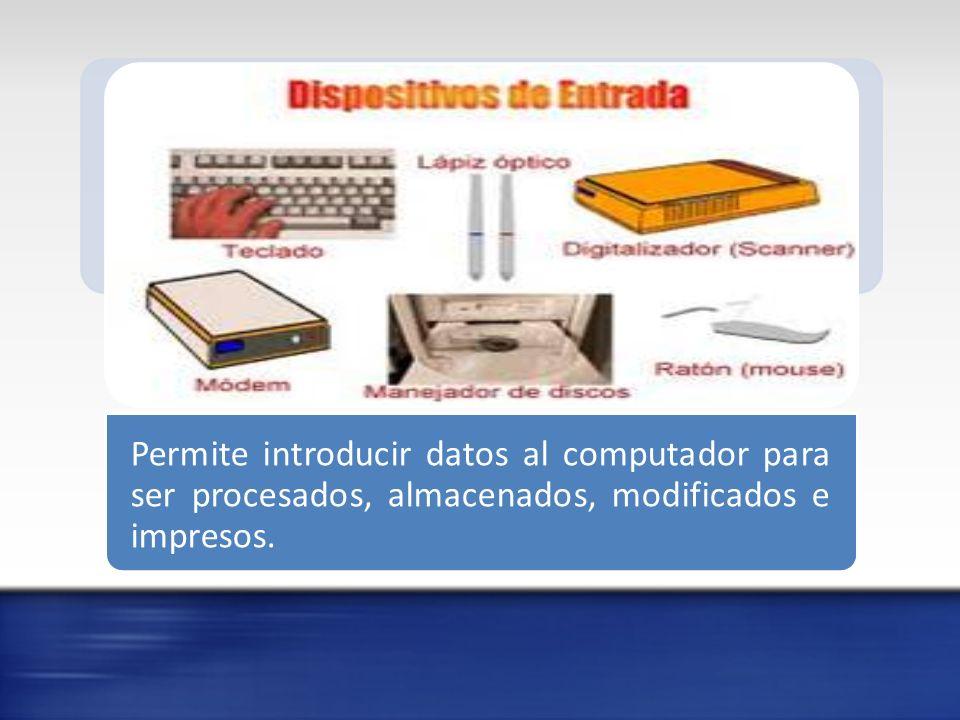 Dispositivos de Salida Proporciona las respuestas emitidas por el computador luego de procesar las instrucciones dadas, es decir permite visualizar los resultados, de forma impresa, sonidos y entre otros.