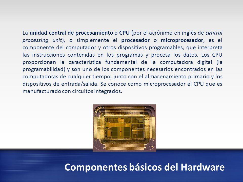 Componentes básicos del Hardware Memoria de acceso aleatorio (en inglés: random-access memory, cuyo acrónimo es RAM) es la memoria desde donde el procesador recibe las instrucciones y guarda los resultados.