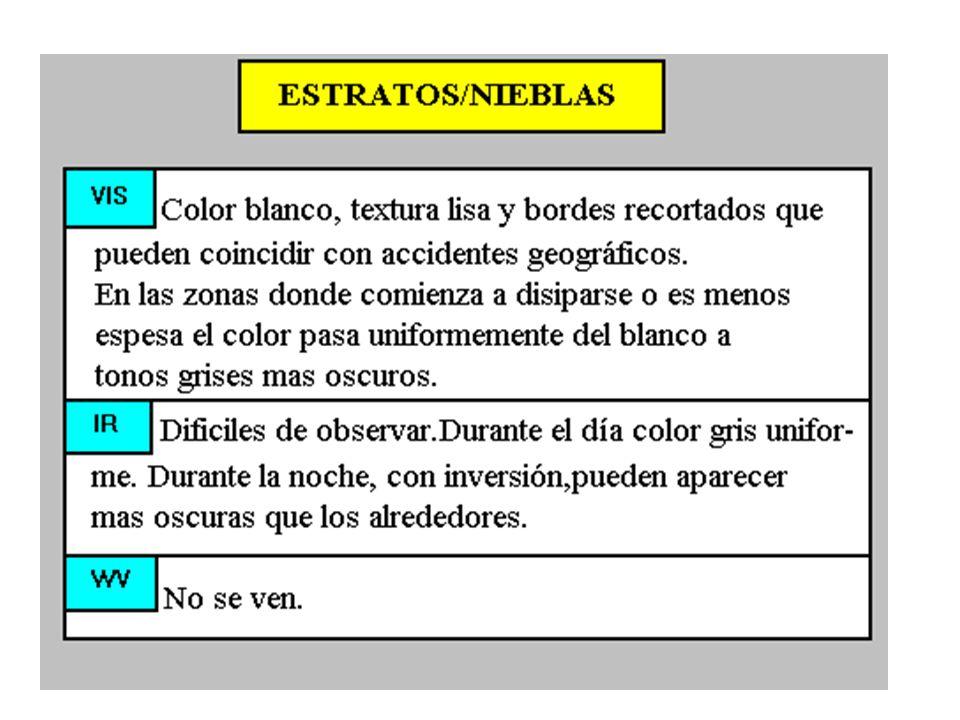 St / nieblas - Comparación entre Canales Son fácilmente observables en VIS con tonos blancos, más o menos brillantes dependiendo del espesor de la capa, con bordes bien definidos coincidiendo en tierra con las características del relieve.