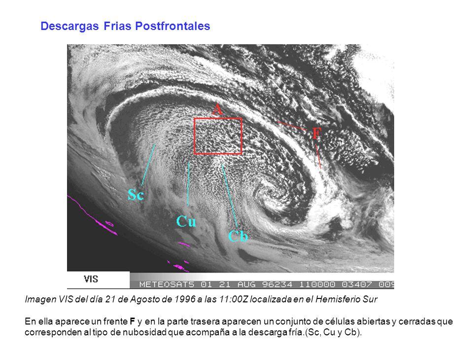 Descargas Frias Postfrontales Imagen VIS del día 21 de Agosto de 1996 a las 11:00Z localizada en el Hemisferio Sur En ella aparece un frente F y en la