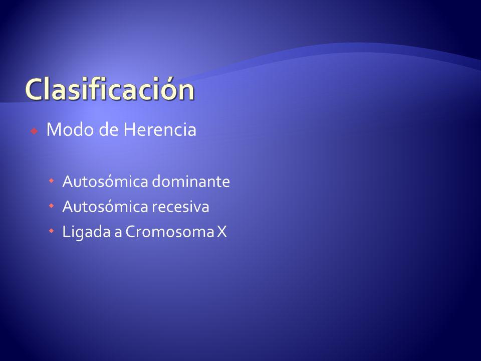 Modo de Herencia Autosómica dominante Autosómica recesiva Ligada a Cromosoma X