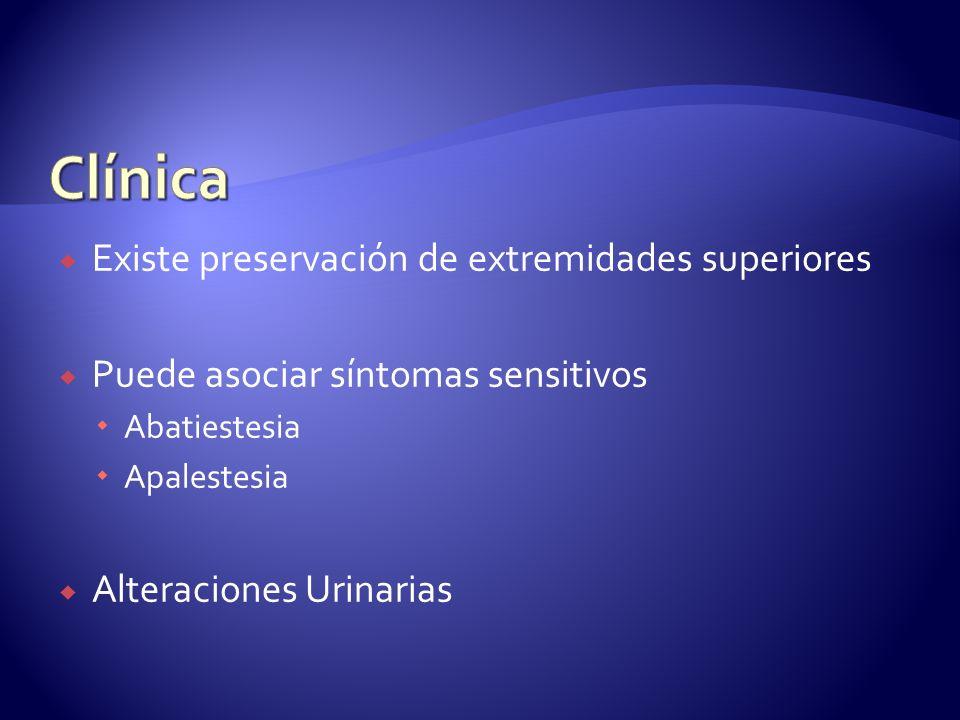 Existe preservación de extremidades superiores Puede asociar síntomas sensitivos Abatiestesia Apalestesia Alteraciones Urinarias