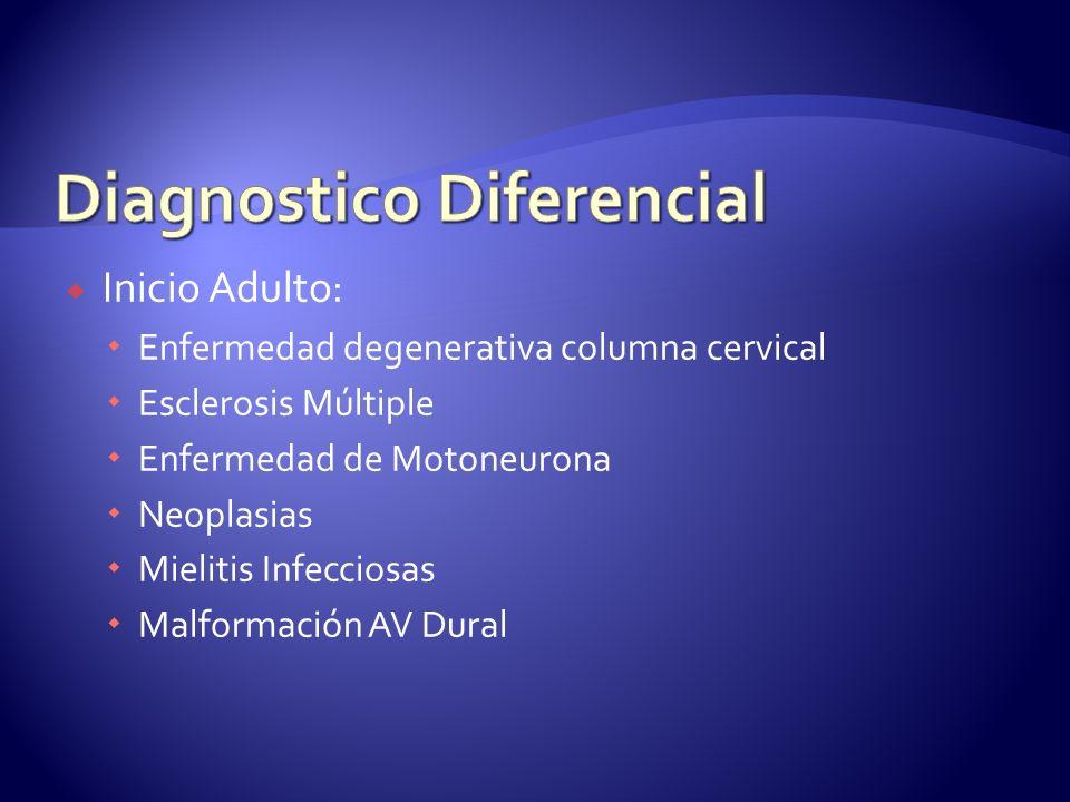Inicio Adulto: Enfermedad degenerativa columna cervical Esclerosis Múltiple Enfermedad de Motoneurona Neoplasias Mielitis Infecciosas Malformación AV Dural