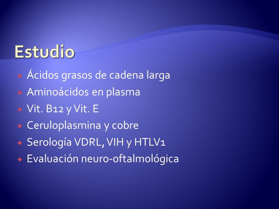 Ácidos grasos de cadena larga Aminoácidos en plasma Vit.