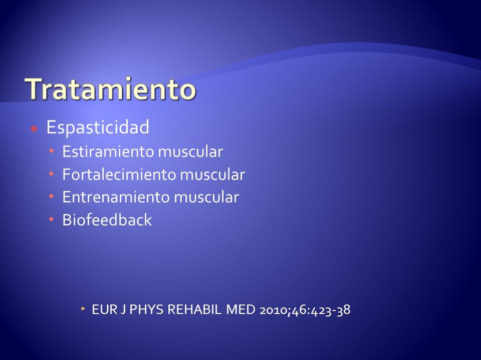 Espasticidad Estiramiento muscular Fortalecimiento muscular Entrenamiento muscular Biofeedback EUR J PHYS REHABIL MED 2010;46:423-38
