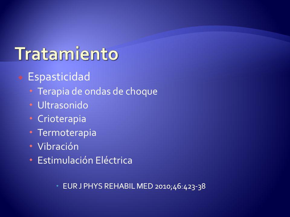 Espasticidad Terapia de ondas de choque Ultrasonido Crioterapia Termoterapia Vibración Estimulación Eléctrica EUR J PHYS REHABIL MED 2010;46:423-38