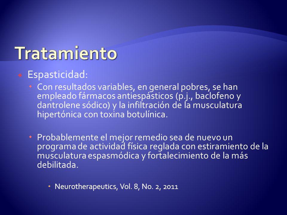 Espasticidad: Con resultados variables, en general pobres, se han empleado fármacos antiespásticos (p.j., baclofeno y dantrolene sódico) y la infiltración de la musculatura hipertónica con toxina botulínica.