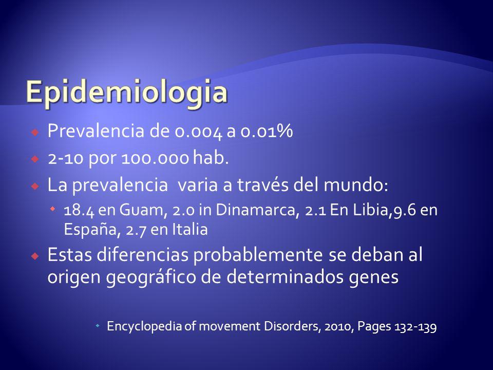 Prevalencia de 0.004 a 0.01% 2-10 por 100.000 hab.