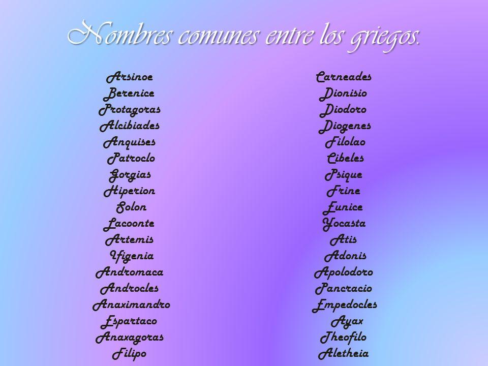 Nombres comunes entre los griegos. Arsinoe Berenice Protagoras Alcibiades Anquises Patroclo Gorgias Hiperion Solon Lacoonte Artemis Ifigenia Andromaca