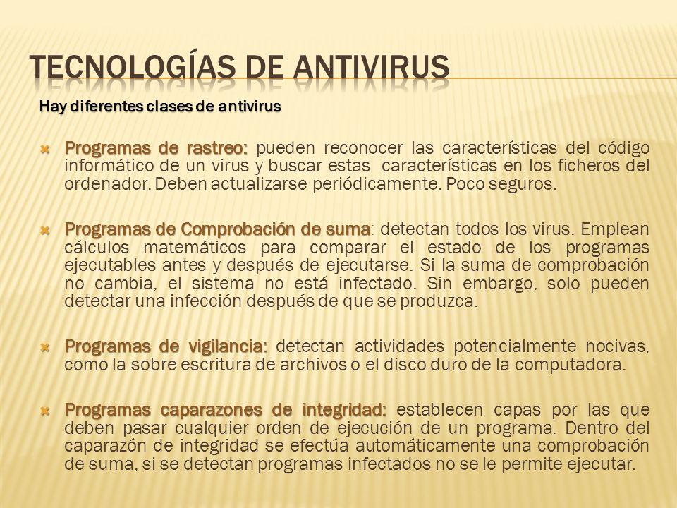 Hay diferentes clases de antivirus Programas de rastreo: Programas de rastreo: pueden reconocer las características del código informático de un virus