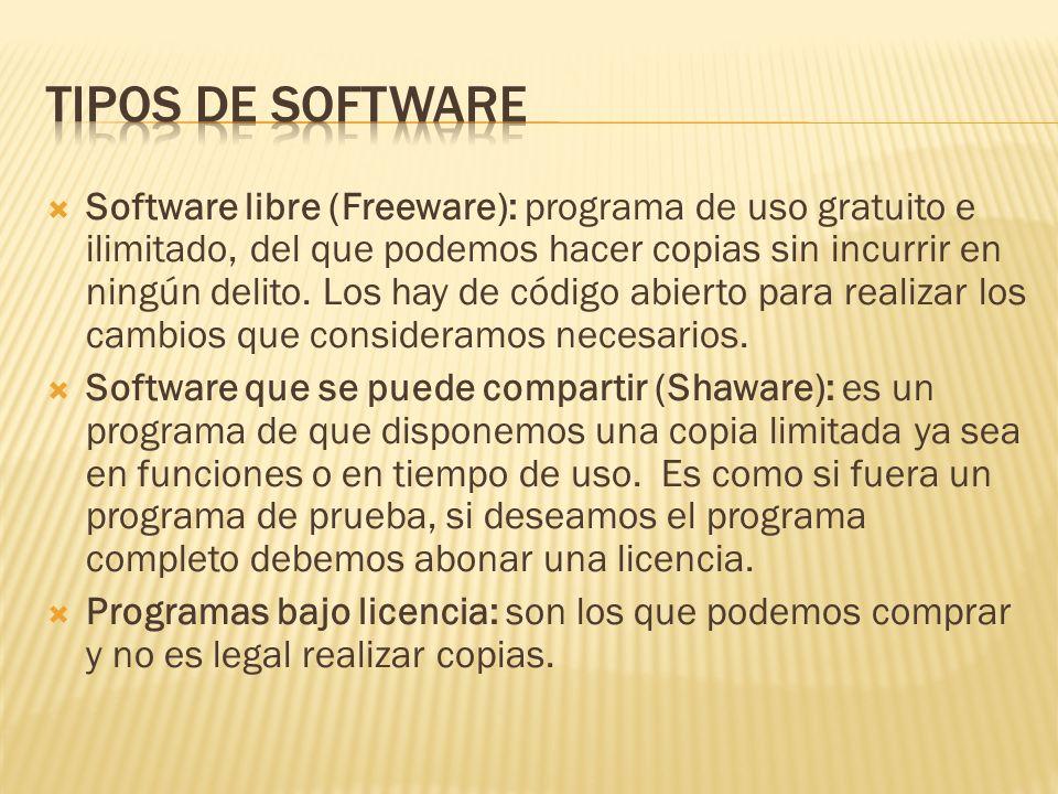 Software libre (Freeware): programa de uso gratuito e ilimitado, del que podemos hacer copias sin incurrir en ningún delito. Los hay de código abierto