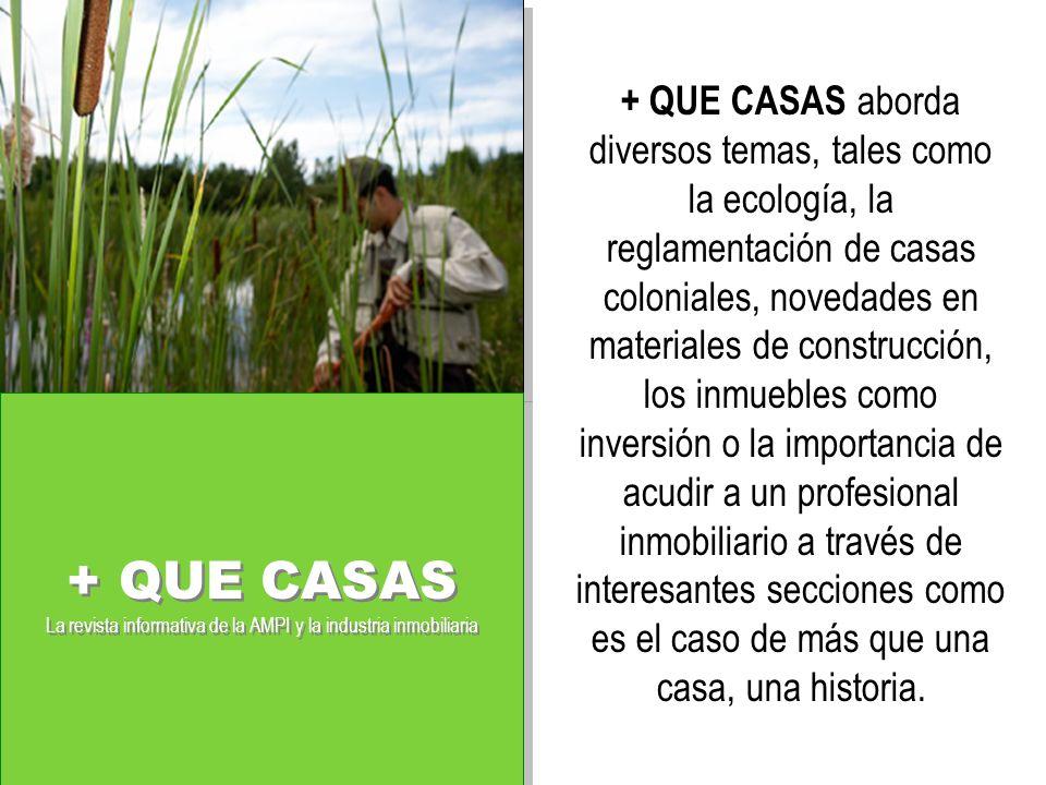 + QUE CASAS aborda diversos temas, tales como la ecología, la reglamentación de casas coloniales, novedades en materiales de construcción, los inmuebles como inversión o la importancia de acudir a un profesional inmobiliario a través de interesantes secciones como es el caso de más que una casa, una historia.