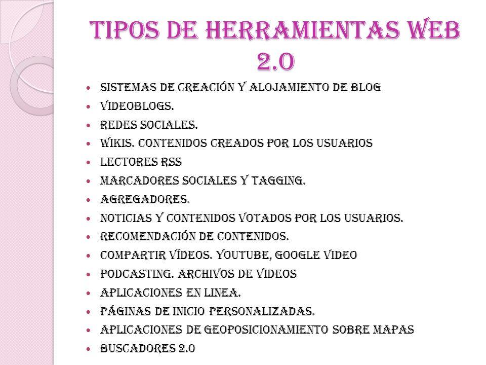 Tipos de herramientas web 2.o Sistemas de creación y alojamiento de blog Videoblogs. Redes sociales. Wikis. Contenidos creados por los usuarios Lector