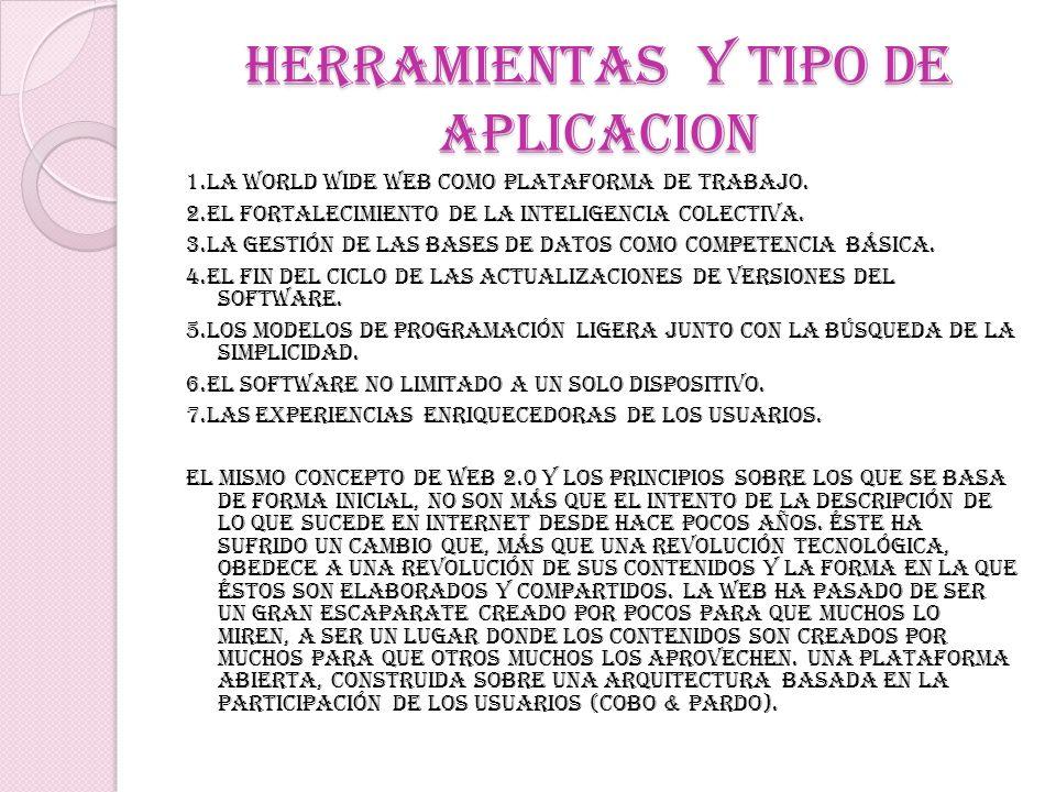 HERRAMIENTAS Y TIPO DE APLICACION 1.La World Wide Web como plataforma de trabajo. 2.El fortalecimiento de la inteligencia colectiva. 3.La gestión de l