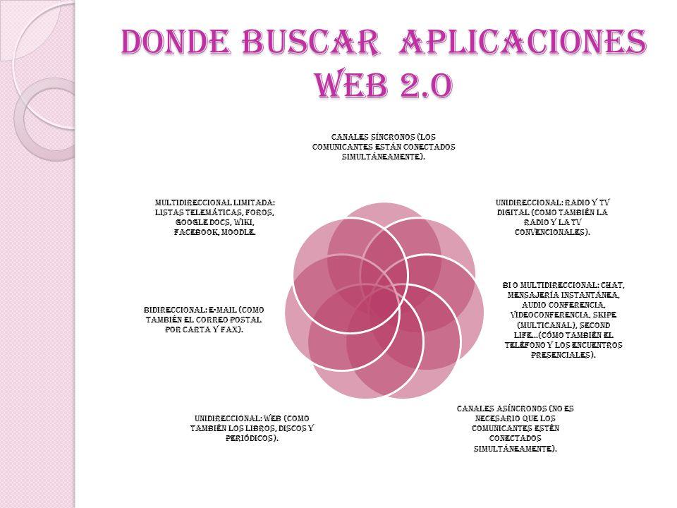 DONDE BUSCAR APLICACIONES WEB 2.O Canales síncronos (los comunicantes están conectados simultáneamente). Unidireccional: radio y TV digital (como tamb