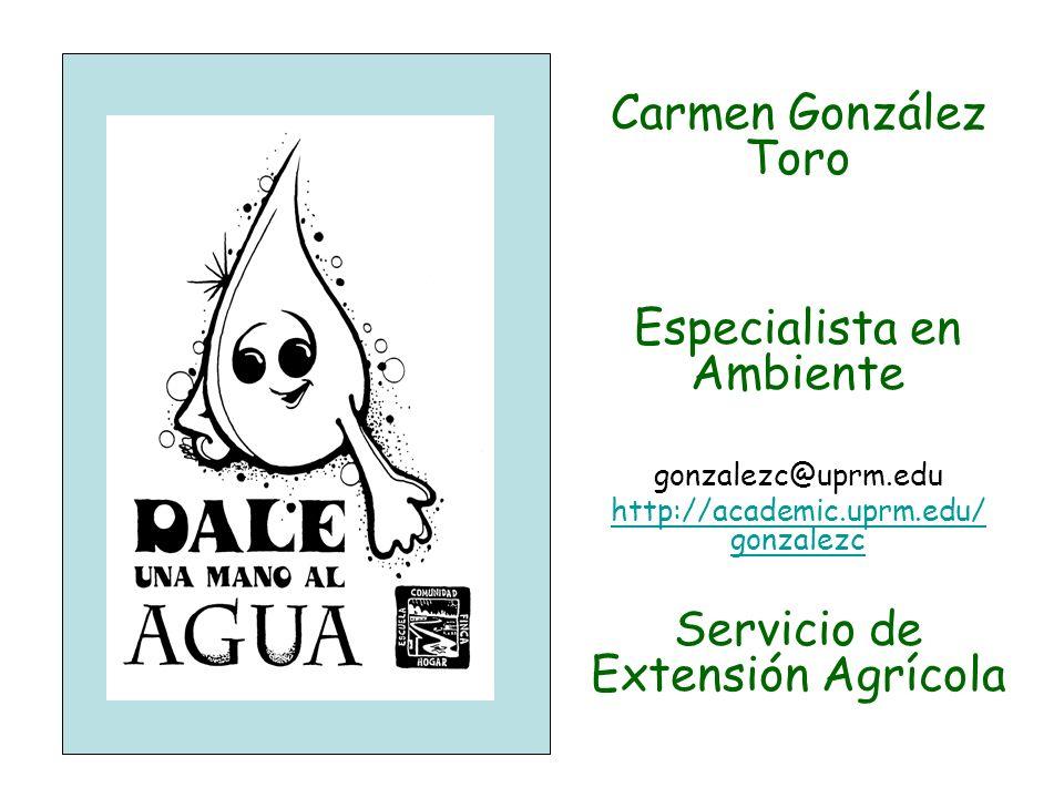 Carmen González Toro Especialista en Ambiente gonzalezc@uprm.edu http://academic.uprm.edu/ gonzalezc Servicio de Extensión Agrícola