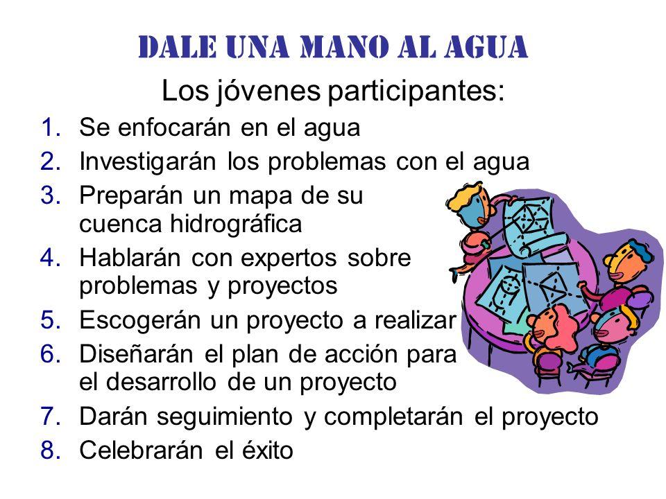 Dale una Mano al agua Los jóvenes participantes: 1.Se enfocarán en el agua 2.Investigarán los problemas con el agua 3.Preparán un mapa de su cuenca hidrográfica 4.Hablarán con expertos sobre problemas y proyectos 5.Escogerán un proyecto a realizar 6.Diseñarán el plan de acción para el desarrollo de un proyecto 7.Darán seguimiento y completarán el proyecto 8.Celebrarán el éxito