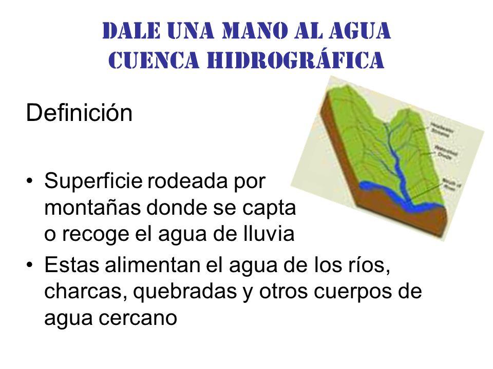 Dale una Mano al agua Cuenca hidrográfica Definición Superficie rodeada por montañas donde se capta o recoge el agua de lluvia Estas alimentan el agua de los ríos, charcas, quebradas y otros cuerpos de agua cercano