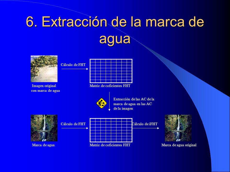 6. Extracción de la marca de agua Imagen original con marca de agua Marca de agua Cálculo de FHT Matriz de coficientes FHT Extracción de las AC de la