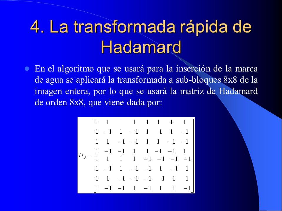 4. La transformada rápida de Hadamard En el algoritmo que se usará para la inserción de la marca de agua se aplicará la transformada a sub-bloques 8x8
