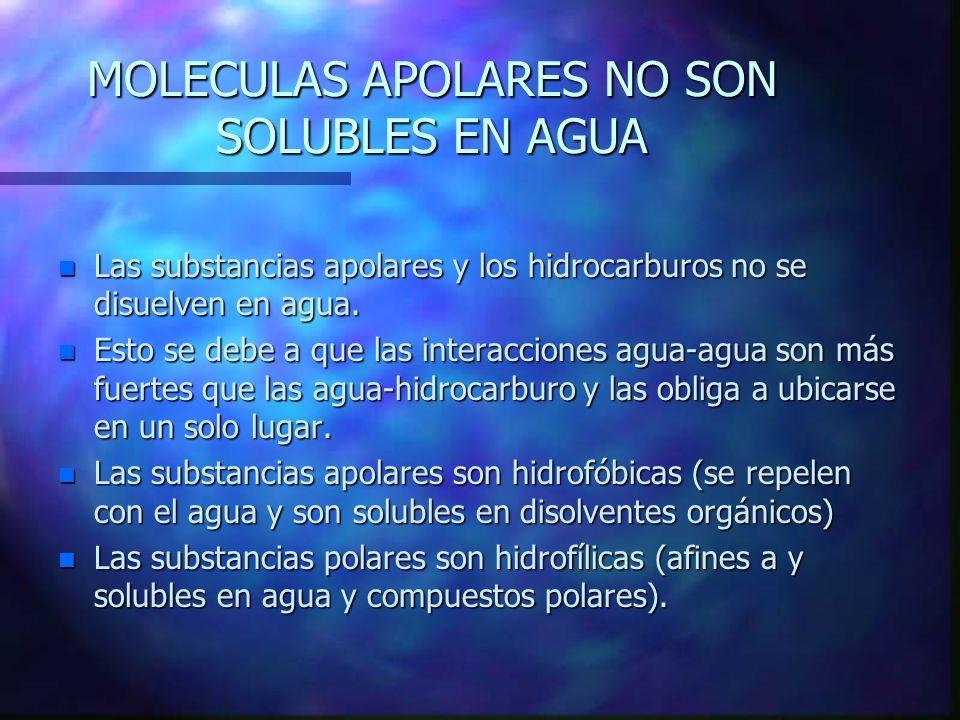 LOS IONES ALTERAN LA ESTRUCTURA DEL AGUA EN ESTADO LÍQUIDO n Por su polaridad y capacidad de formar enlaces de hidrógeno el agua actúa rápidamente con solutos polares.