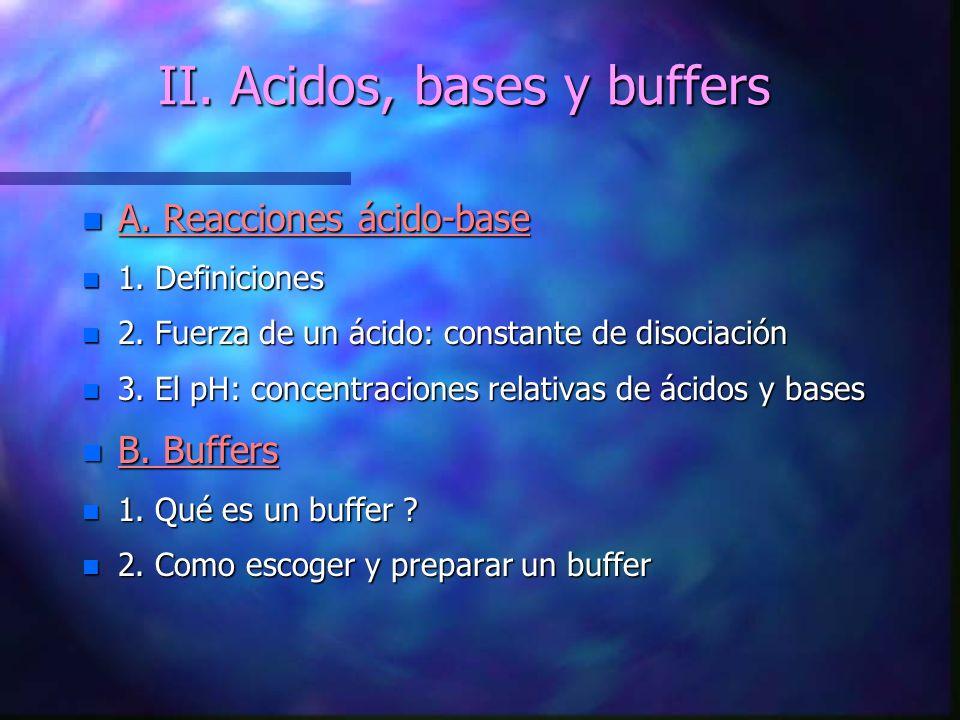 II.Acidos, bases y buffers n A. Reacciones ácido-base n 1.