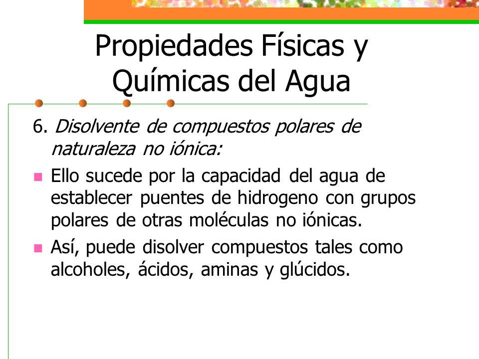 Propiedades Físicas y Químicas del Agua 6. Disolvente de compuestos polares de naturaleza no iónica: Ello sucede por la capacidad del agua de establec