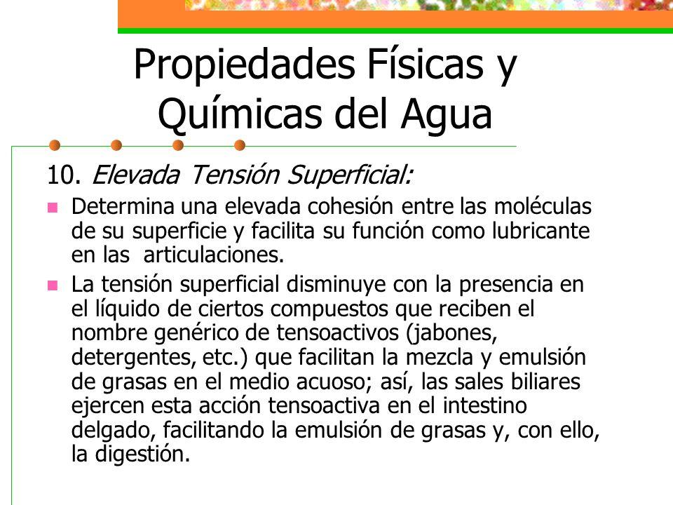 Propiedades Físicas y Químicas del Agua 10. Elevada Tensión Superficial: Determina una elevada cohesión entre las moléculas de su superficie y facilit