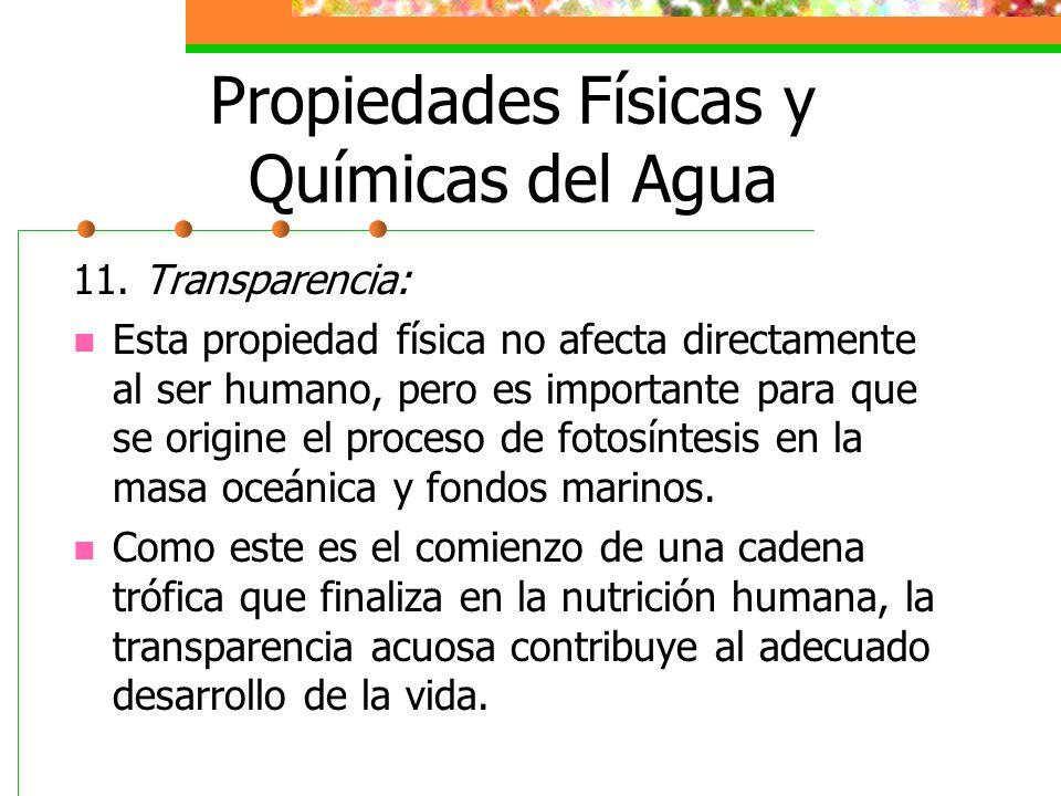 Propiedades Físicas y Químicas del Agua 11. Transparencia: Esta propiedad física no afecta directamente al ser humano, pero es importante para que se