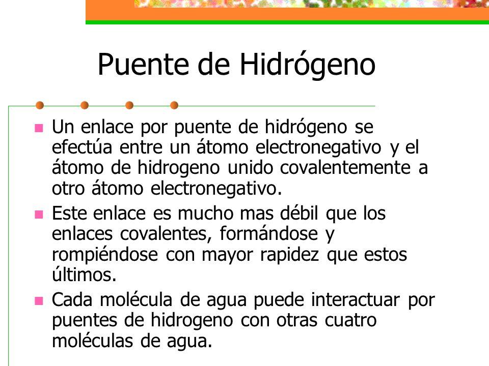 Puente de Hidrógeno Un enlace por puente de hidrógeno se efectúa entre un átomo electronegativo y el átomo de hidrogeno unido covalentemente a otro át