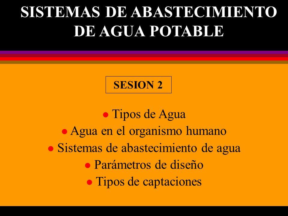 l Tipos de Agua l Agua en el organismo humano l Sistemas de abastecimiento de agua l Parámetros de diseño l Tipos de captaciones SISTEMAS DE ABASTECIM