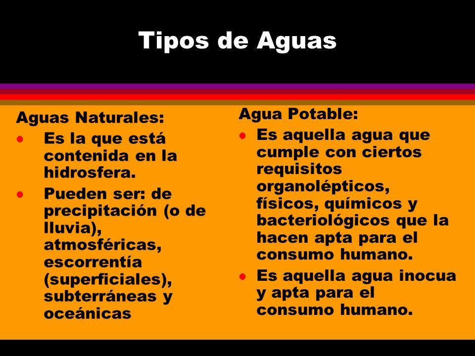 Tipos de Aguas Aguas Naturales: l Es la que está contenida en la hidrosfera. l Pueden ser: de precipitación (o de lluvia), atmosféricas, escorrentía (