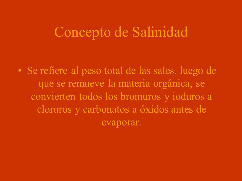 Concepto de Salinidad Se refiere al peso total de las sales, luego de que se remueve la materia orgánica, se convierten todos los bromuros y ioduros a