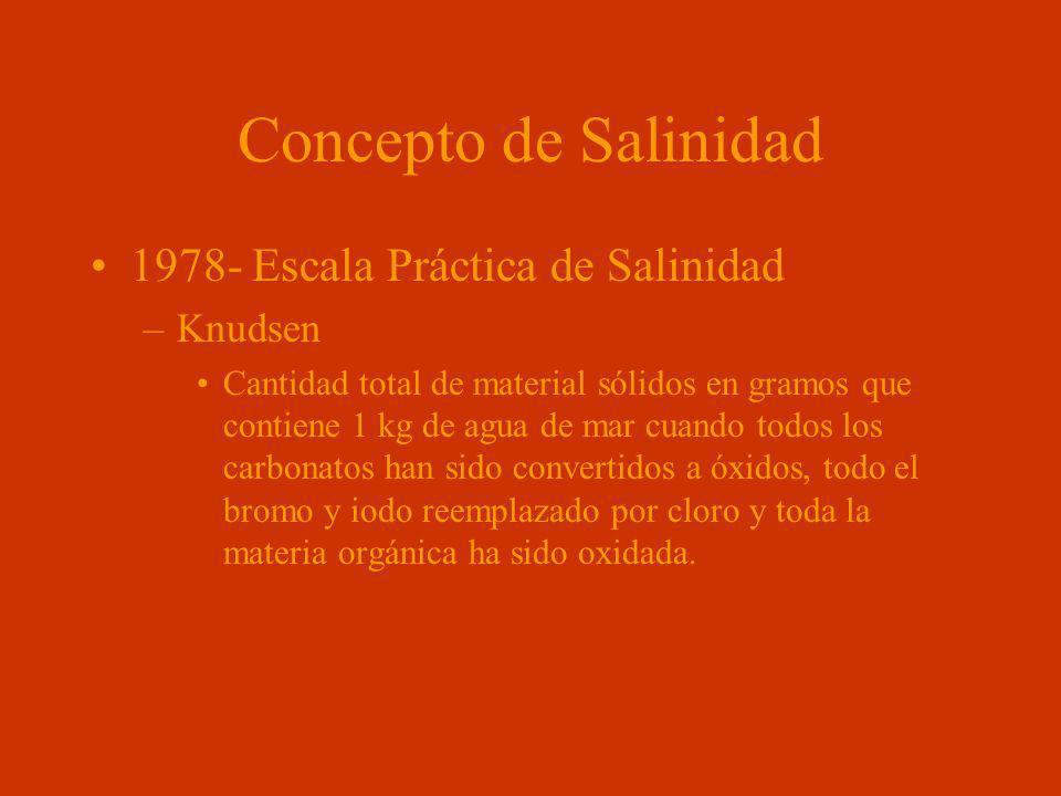 Concepto de Salinidad 1978- Escala Práctica de Salinidad –Knudsen Cantidad total de material sólidos en gramos que contiene 1 kg de agua de mar cuando