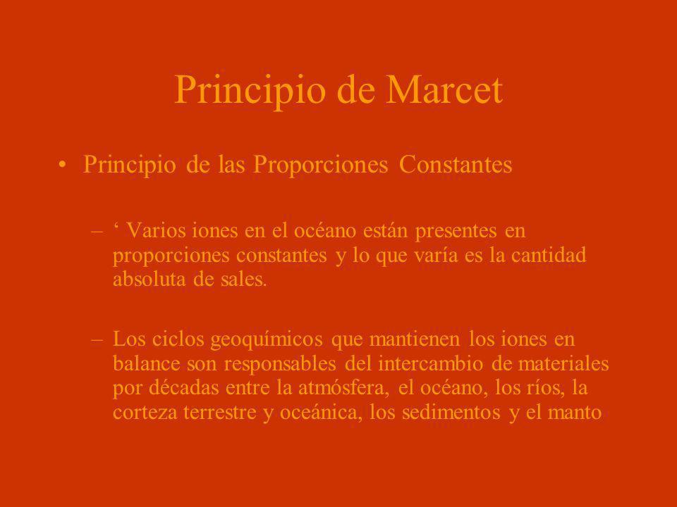 Principio de Marcet Principio de las Proporciones Constantes – Varios iones en el océano están presentes en proporciones constantes y lo que varía es