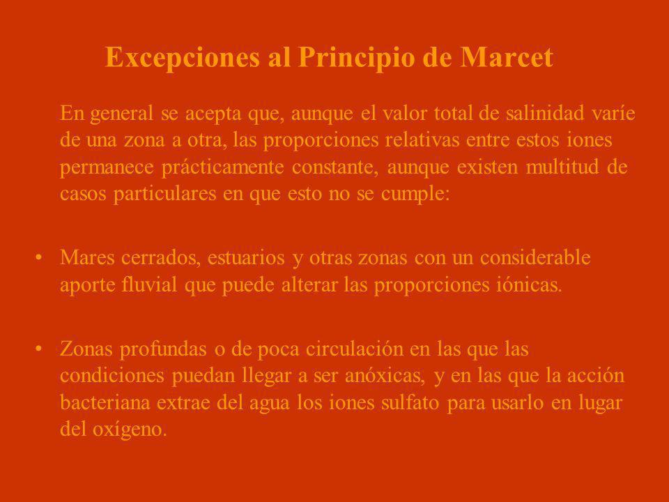 Excepciones al Principio de Marcet En general se acepta que, aunque el valor total de salinidad varíe de una zona a otra, las proporciones relativas e