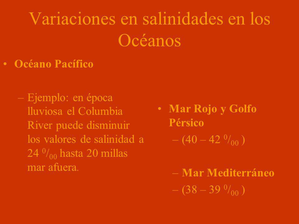 Variaciones en salinidades en los Océanos Océano Pacífico –Ejemplo: en época lluviosa el Columbia River puede disminuir los valores de salinidad a 24