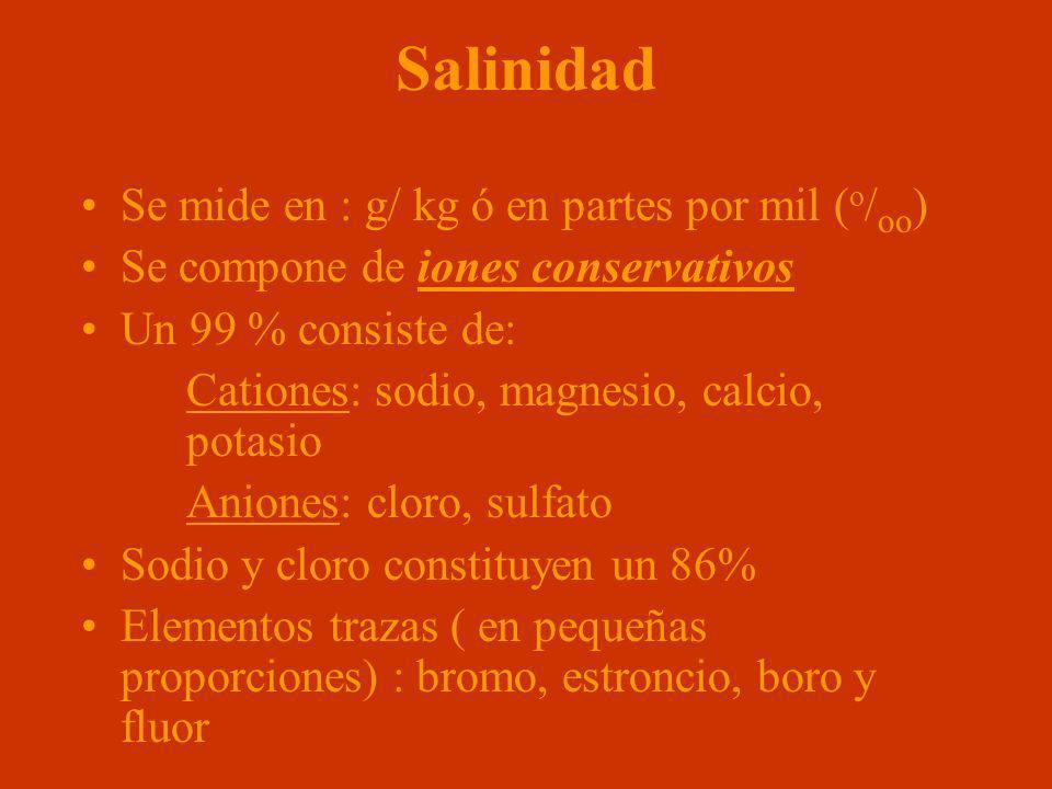 Salinidad Se mide en : g/ kg ó en partes por mil ( o / oo ) Se compone de iones conservativos Un 99 % consiste de: Cationes: sodio, magnesio, calcio,