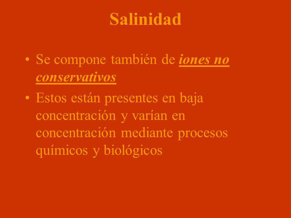 Salinidad Se compone también de iones no conservativos Estos están presentes en baja concentración y varían en concentración mediante procesos químico