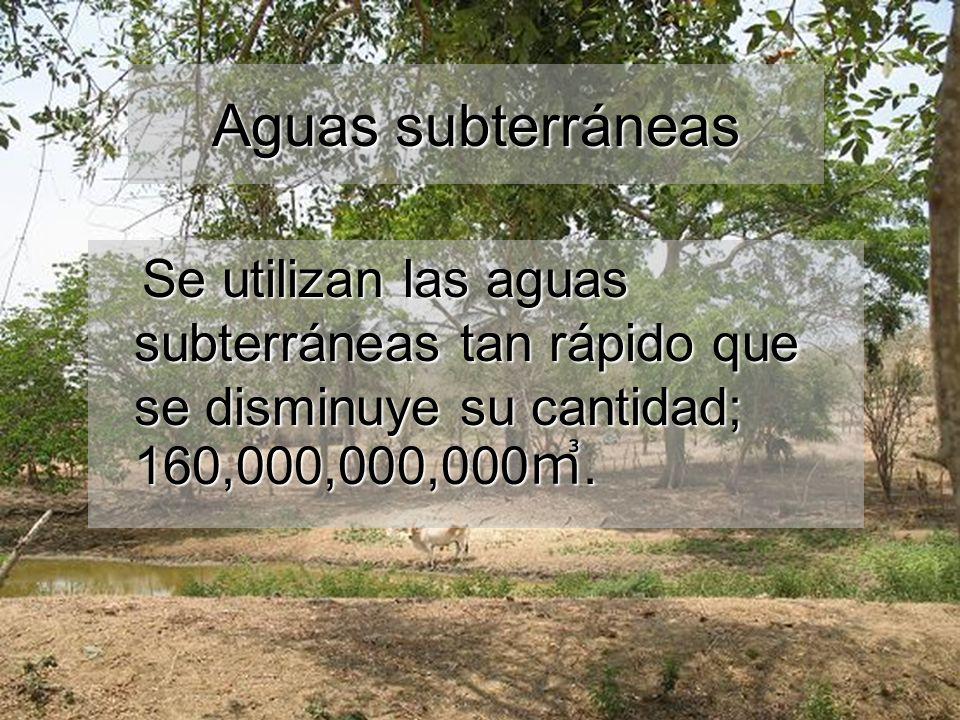 Aguas subterráneas Se utilizan las aguas subterráneas tan rápido que se disminuye su cantidad; 160,000,000,000.