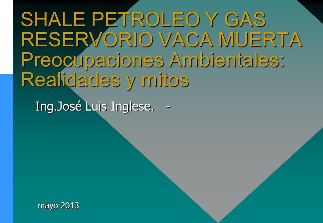 SHALE PETROLEO Y GAS RESERVORIO VACA MUERTA Preocupaciones Ambientales: Realidades y mitos Ing.José Luis Inglese. - mayo 2013 mayo 2013