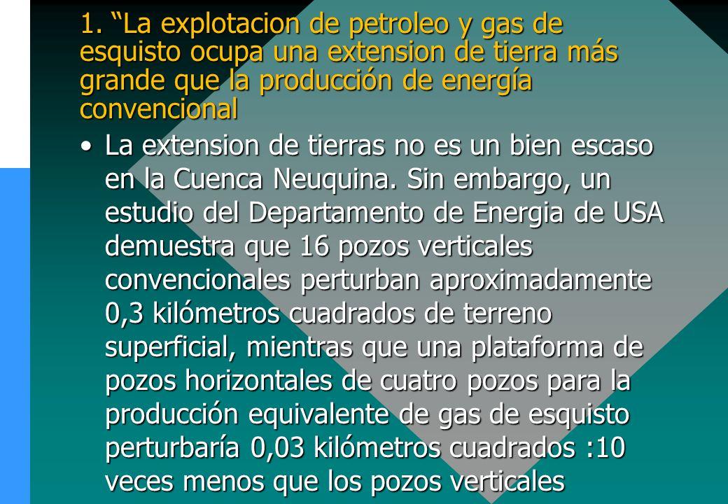 1. La explotacion de petroleo y gas de esquisto ocupa una extension de tierra más grande que la producción de energía convencional La extension de tie