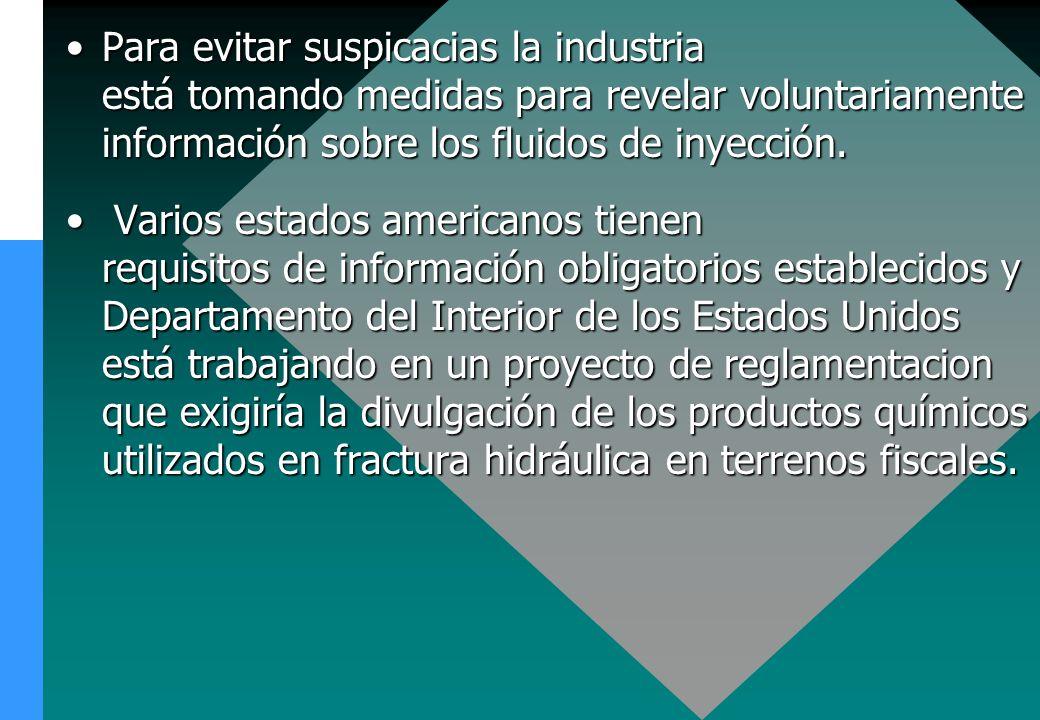 Para evitar suspicacias la industria está tomando medidas para revelar voluntariamente información sobre los fluidos de inyección.Para evitar suspicac