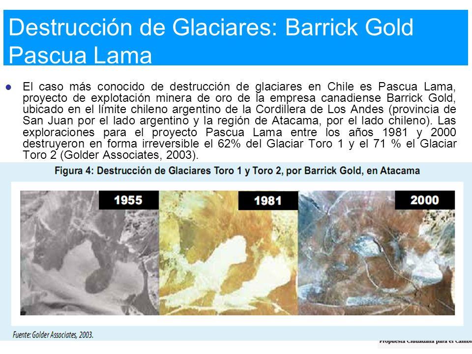 El caso más conocido de destrucción de glaciares en Chile es Pascua Lama, proyecto de explotación minera de oro de la empresa canadiense Barrick Gold,