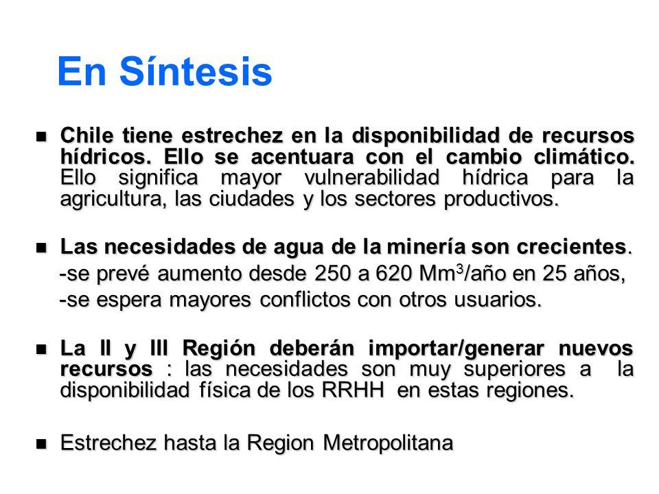 En Síntesis Chile tiene estrechez en la disponibilidad de recursos hídricos. Ello se acentuara con el cambio climático. Ello significa mayor vulnerabi
